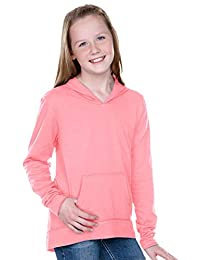Kavio! Girls 7-16 Jersey RawEdge High Low Long Sleeve Hoodie w.Pouch