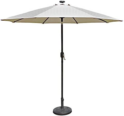 Island Umbrella N5424CH Mirage Fiesta Octagonal Market Umbrella, 9-ft, Champagne Olefin