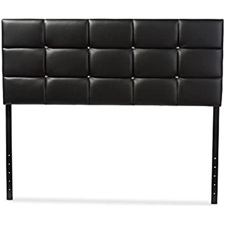 Contemporary Queen Size Headboard In Black Faux Leather