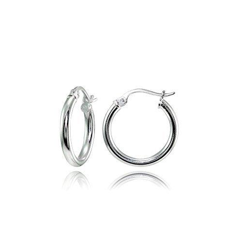 Earrings Ring Silver (Hoops & Loops Sterling Silver 2mm High Polished Round Hoop Earrings, 15mm)