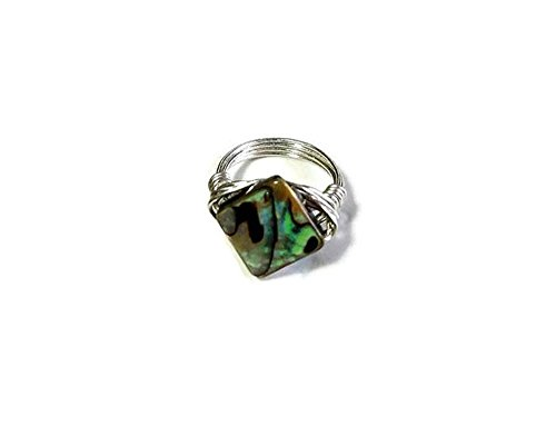 - Abalone Shell Wire Wrapped Solitaire Ring in Sterling Silver, Gold- or Silver-Plated Band, Custom US Size 4 5 6 7 8 9 10 11 12 13 14 15, Includes Ring Box