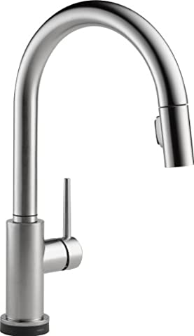 Delta Faucet 9159T-AR-DST Trinsic Single Handle Pull-Down Kitchen Faucet with Touch2O Technology and Magnetic Docking, Arctic (Pulldown Faucet Delta)