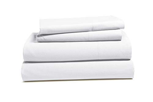 ISABELLA CROMWELL 100% Cotton Bed Sheets Set: Breathable Bedding Sets Flat Sheet, Deep Pocket Fitted Sheet 2 Pillowcases- Soft Comfortable Sheets Made Pure Brushed Cotton -Queen, Brilliant White