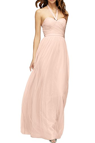 DressyMe Women's Halter A-Line Tulle Bridesmaid Dress Holiday Gown Floor-Length-22W-Pearl Pink
