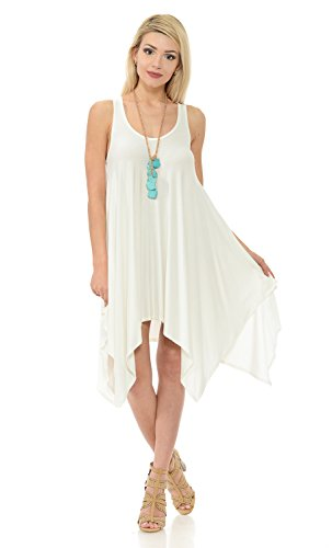 Iconic Luxe Women's Handkerchief Tank Dress Medium Ivory