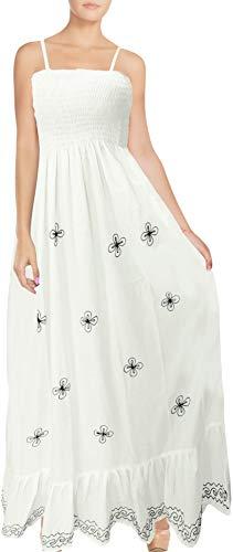 LA LEELA Rayon Solid Top Caribbean Short Office Tube Dress White 2078 One Size ()