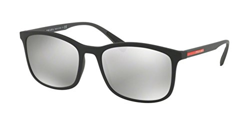 Prada Linea Rossa Men's 0PS 01TS Black Rubber/Light Grey Mirror Silver One Size (Prada Sonnenbrille Unisex)
