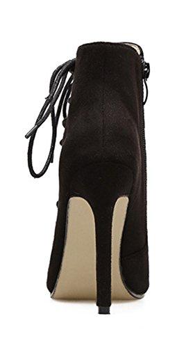 ... Aisun Damen Ital-Design Peep Toe Schnürsenkel Cut Out Stiletto  Sommerstiefel mit Reißverschluss Schwarz ... ce6a5c4673