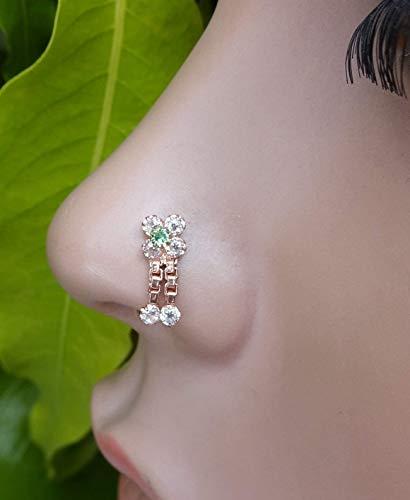 Emerald Flower Nose Stud,Rose Gold Nose Stud,Crystal Nose Piercing,Indian Nose Piercing,Crock Screw Nose Stud,Unique Nose Piercing,925 Sterling Silver Nose Piercing,Indian Nose Stud(TEJ231)