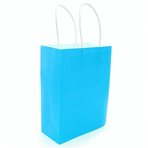 Dayhop 10Pcs Multicolor Paper Bag With Handles 21X15x8cm DIY Multifunction Festival Gift Bag Wedding Party Gift Kraft Paper Bags Azure 21x15x8cm