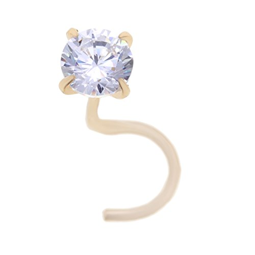 Lavari - 14K Yellow Gold 3mm White Cubic Zirconium Nose Ring Curve Stud Twist Screw 22G (Zirconium 14k Cubic Ring)