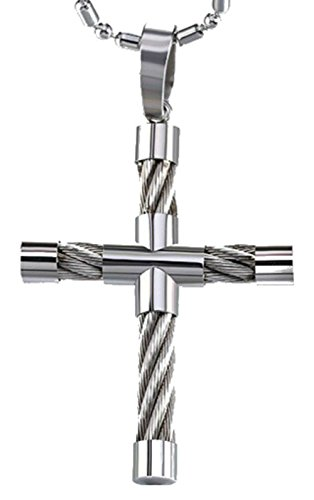 InspireMe Family Owned Men's Stainless Steel Cable Cross Pendant Necklace, 20