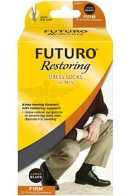 Futuro Restoring Dress Socks For Men Firm 20-30 Mmhg - X-Large - Black
