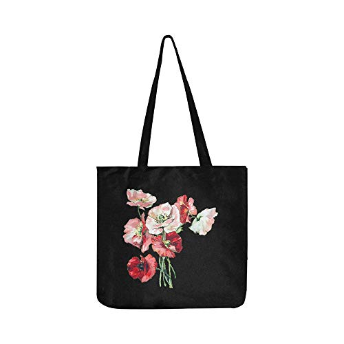 Flowers Poppies Poppy Vintage Nature Red Plant Canvas Tote Handbag Shoulder Bag Crossbody Bags Purses For Men And Women Shopping Tote ()