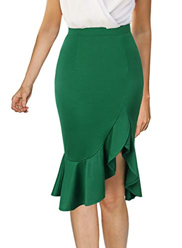 VFSHOW Womens Green Ruffle High Waist Work Business Cocktail Party Mermaid Bodycon Pencil Skirt 2091 GRN XL