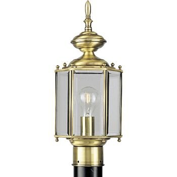 Progress Lighting P5430-10 Hexagonal Post Lantern with Beveled Glass, Polished Brass