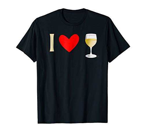 I Love White Wine Drinking Tee Shirt