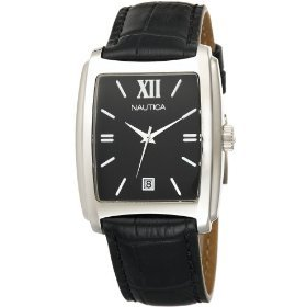 Nautica Men's N07546 Square Stainless Steel Watch with Leather Strap