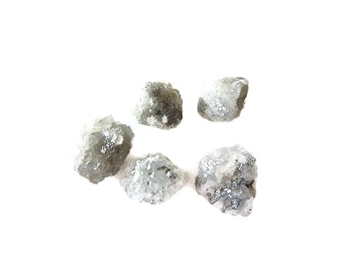 Uncut Diamond (5 Pieces White/Grey Raw Diamonds, Rough Diamonds, Uncut Diamonds, Loose Diamonds, 5mm Approx,)