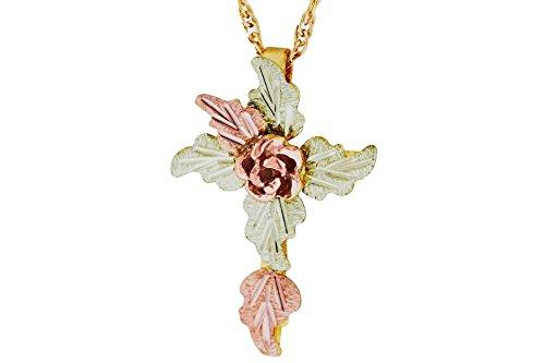 Black Hills Gold Rose Cross Necklace
