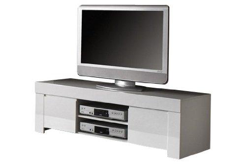 TV Schrank Amalfi klein mit 2 Türen, 140 x 45 x 50 cm, weiß hochglanz