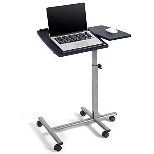 Tangkula Laptop Desk Overbed Table, Mobile Desk Cart, Angle & Height Adjustable Laptop Stand Cart, Computer Desk with Smooth & Lockable Casters, Mobile Lap Workstation Notebook Cart (Black)