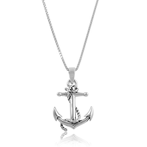 Sterling Silver Nautical Anchor Necklace ()