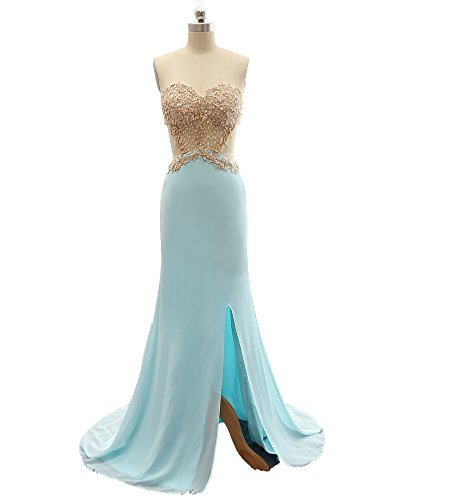 Beauty Bridal Sweetheart Side Slit Long Sexy Prom Dresses 2016(12,Blue)