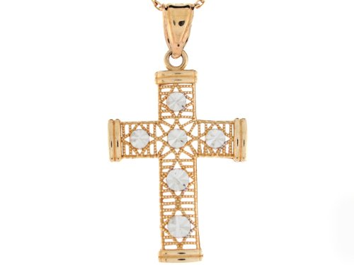 9ct Or Deux Tons Pendentif Croix Religieuse Filigrane Taille Diamant