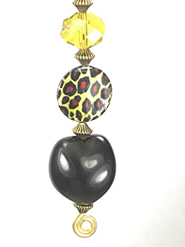 Leopard Mother-of-Pearl Shell in Brown-Black with Amber Glass Ceiling Fan Pull