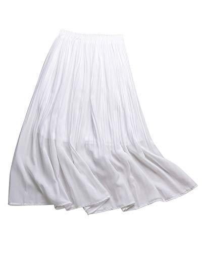 Femme Blanc Jupe Jupes Boheme Longues Longue Mousseline Ete Soie de en Plisse xYwwU8Paq