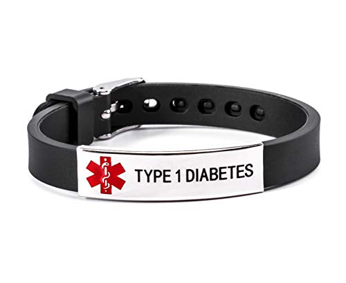 (Type 1 Diabetes Medical Alert ID Rubber Silicone Bracelet Black for Men and Women)