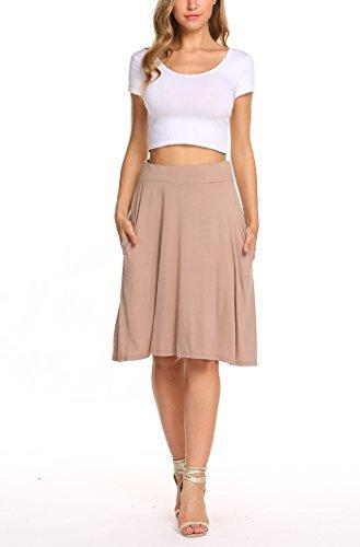Soft Stretch Skirt - Qearal Womens Basic Solid Stretch Elastic High Waist Flare Knee Length A Line Skirts w/Pockets (Taupe, L)