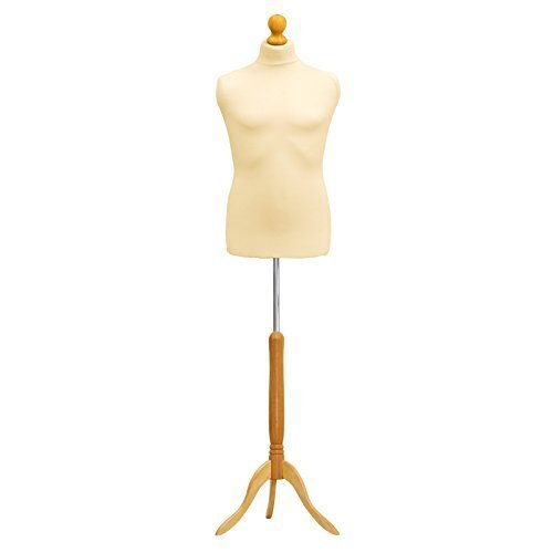 Child Kid Tailors Dummy Cream Age 10/12 Dressmakers Fashion Students Mannequin Display Bust With A Light Wood Base by LUK-MAL -  2356953