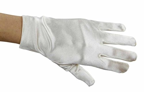 (Greatlookz Beautiful Wrist Length Short Satin Gloves in Ivory )