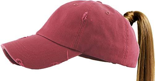 PONY-001 MAR Ponytail Messy High Bun Headwear Adjustable Cotton Trucker Mesh Hat Baseball -