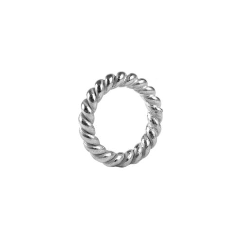 Silver Overlay Closed Jump Ring Twisted Oxidized JCSF-105-9MM