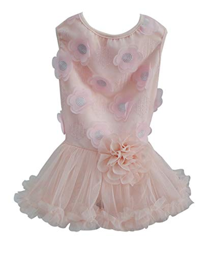 Pawpatu DOG058S S 8-12 lb Dusty Pink Flower Embellished Ruffle Dress for Dogs, Small