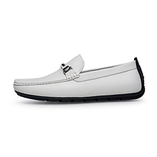 ZRO Men's Casual Fashion Driving Loafers Flats Boat shoes White US 9.5 by ZRO (Image #2)