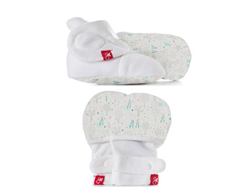Baby Booties & Mittens Bundle, Adjustable Soft & Secure (Magical Woods/Aqua, 0-3 Months)