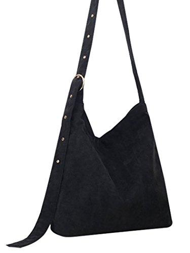 Coafit Crossbody Bag Shoulder Bag Womens Corduroy Adjustable Strap Messenger Bag Black