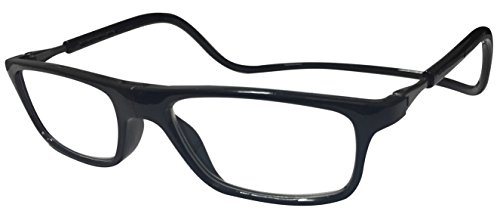 Click Magnetic Reading Glasses Adjustable Front Connect Reader Black 150 by Tltiony