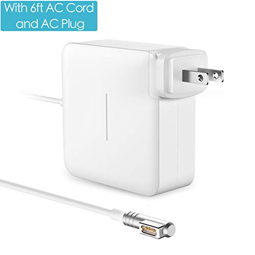 POWLAKEN Compatible with MacBook Pro Charger 60W Magsafe L-Tip Power Adapter with 6FT AC Extension Cable, Charger for MacBook and MacBook Pro 13 inch-Before Mid 2012, Works with 45W & 60W MacBooks by POWLAKEN