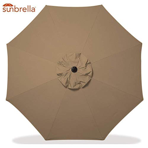 Bayside-21 Replacement Canopy Only for 9' 8 Ribs Sunbrella Patio Market Umbrella (Replacement Canopy Only, Sunbrella Sesame)