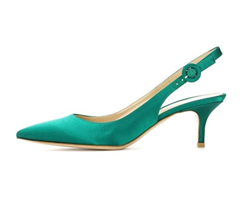 with Pointed Shoes Court Slingback 5cm EDEFS Pumps Dress Kitten Heel Heel Womens Green Toe 6 Zq5wnWpv