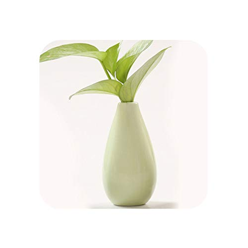 Fairy-Margot Modern Ceramic vase Hydroponics Flower Mini vases Creative Handmade Blowing Small vase Tabletop Crafts Fashion Home Decoration,A Green No Flowers