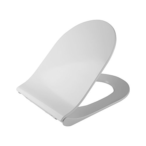 PEATAO Elongated Toilet Seat Elongated Round With Cover, Soft-Close Quick-Release for Easy Cleaning White Economy Molded Fits All Oval Longated Toilets (US STOCK) (Elongated) ()