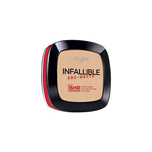L'Oréal Paris Makeup Infallible Pro-Matte Powder, lightweight pressed face powder, 16hr shine-defying matte finish, absorbs excess oil and reduces shine, pro-look and long wear, Porcelain, 0.31 -