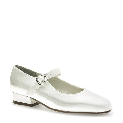 Touch Ups Girls' Sabrina Dress Shoes,White Satin,3.5 M ()