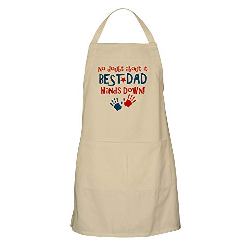 CafePress Hands Down Best Dad BBQ Apron Kitchen Apron with Pockets, Grilling Apron, Baking Apron